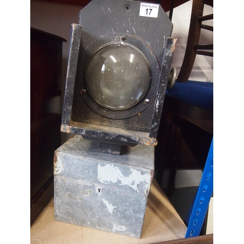 17 - Theatre spotlight and a metal box with lock...