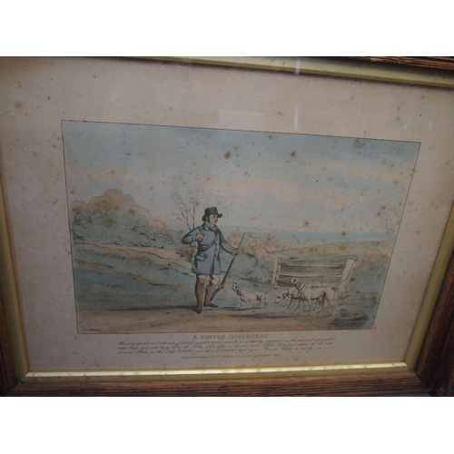 18 - Six coloured framed prints depicting country life with sayings...