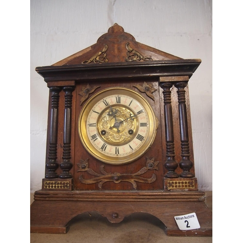 2 - Large ornate mantle clock with brass face...