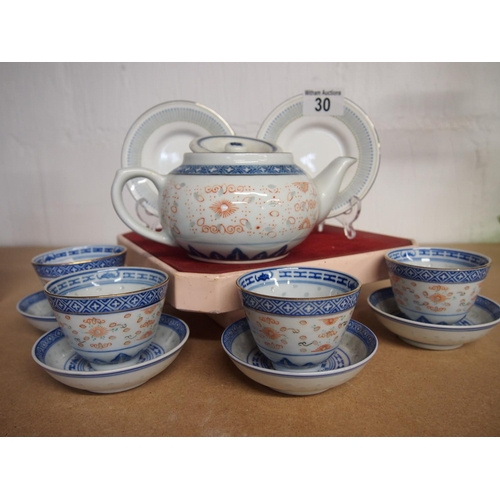 30 - Chinese tea set for four with six miniature plates...