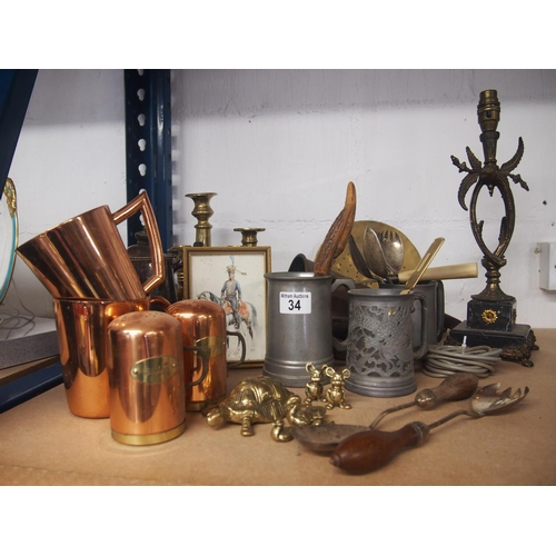 34 - Large selection of copper, brass and pewter objects...