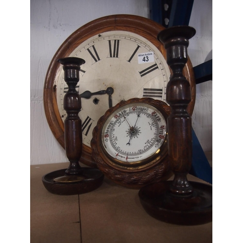 43 - Large wooden wall clock for restoration, pair of candlesticks and barometer...