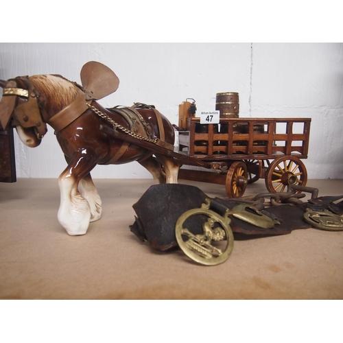 47 - Retro horse and cart with barrels plus original horse brasses...