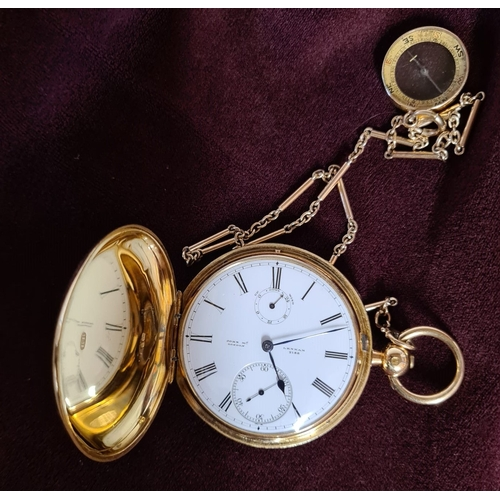 100 - An extremely rare and fine 18K gold full hunter chronometer pocket watch with key wind by John McLen...