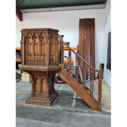 431 - Fabulous 19th century wooden pulpit with stairs. from a Demolished church in tipperary. By Thomas Ma...