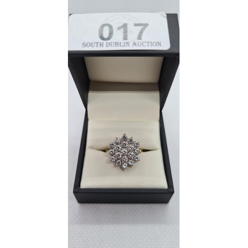 17 - Large 9ct yellow gold round dress ring, Great sparkle....