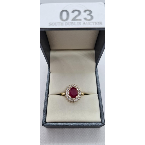 23 - 14ct Ruby Cluster ring size 0 1/2...