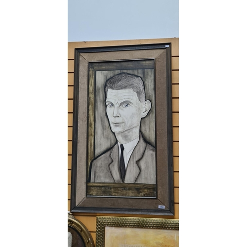 68 - Original Samuel Becket painting By Reginald Grey 1961 Painting. Tempera on Wood, With a velvet surro...