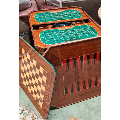Sorrento Inlaid Games. Chesss, Green felt for bridge, back gammon and Roulette with a lovely inlaid floral top.