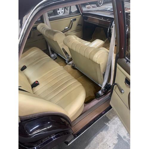 6 - Mercedes 250 S (2.5L), 1967, Auto, 4 door saloon, showing 60,000 miles, dark burgundy with light bei...