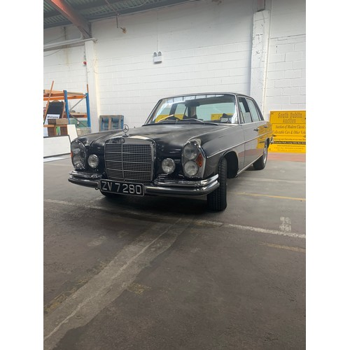 4 - Mercedes S 280 (2.8L), 1973, Auto, 4 door saloon, showing 60,149 (unverified) miles, brown with ligh...