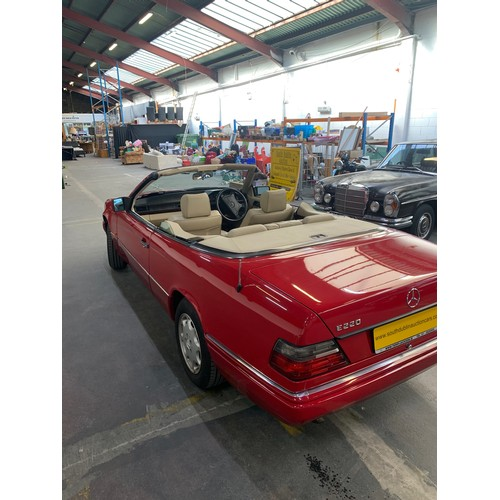 8 - MERCEDES E220, 1994, CONVERTIBLE, 104k miles. Red with comprehensive service history. Full body resp...