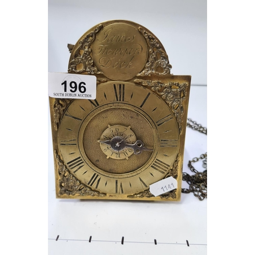 196 - Small Antique Brass wall clock with chains. Signed James Trengard Dock. With chime....