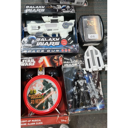 5 piece Star Wars collection, including Star Wars trivia game, light-up alarm clock and a space gun