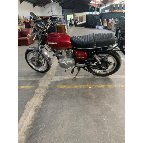 11 - HONDA CB 400T MOTORBIKE, 1978, 37k miles, Red Tank and only 2 previous owners. Really lovely example...