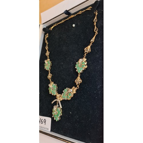 169 - fabulous 18ct Gold Emerald and Diamond Necklace. 30 Columbian Emearlds and 60 Diamonds. The vendor r...