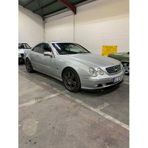 13 - MERCEDES CL55 AMG, 02, 141k miles,360bhp, Silver with Black perforated Alacantra leather and veneer ...