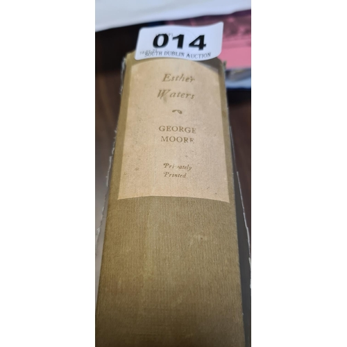 14 - Esther Waters, by George Moore, privately printed book 1920 13/750 signed by Geoge Moore....