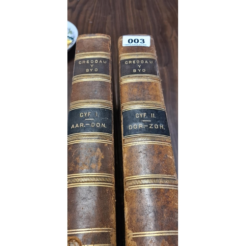 3 - Credoau T Byd Complete two volumes. 2 19th century Large books with leather binding. In the Welsh la...