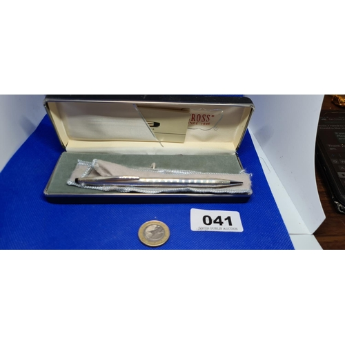 41 - 925 Sterling Silver Cross pencil in box, with papers and pouch. New old jewellers stock....