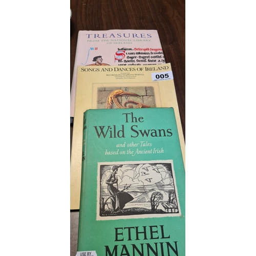 5 - Three books of Irish Interest. Treasures of the National library of Ireland, The wild Swans and Song...