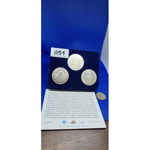 51 - Three Silver presentation coins. 70.3g...