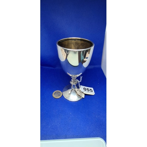 55 - Sterling Silver Chalice. 63.5g Birmingham hall mark. Retail price €140 20+years ago....