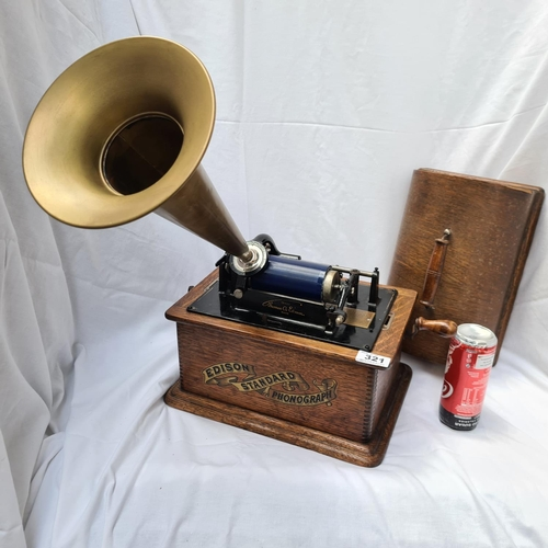 321 - Edison Standard Phonograph with box of wax records. Super example very clean all original in working...