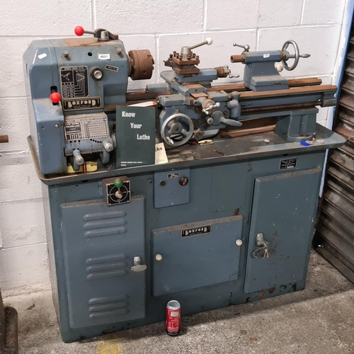 409 - Boxford AUD lathe with parting off tool and chuck key for the 3 jaw chuck. inspection certificate, A...