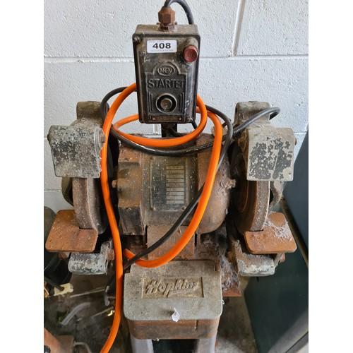 408 - Hopkins commercial quality double ended bench grinder with pedestal. Single phase regular plug
