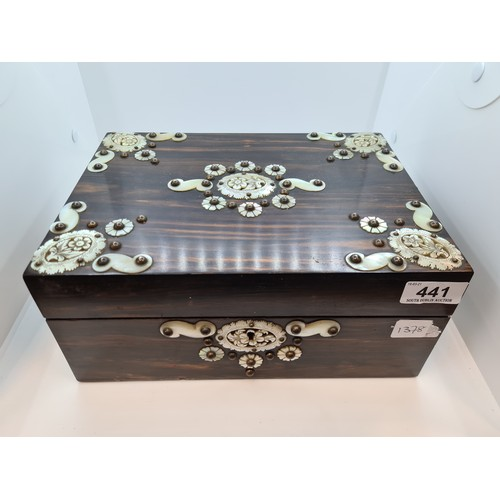 441 - Beautiful Victorian Rosewood sewing box with mother of pearl overlay. Full of contents. Great lot. M...