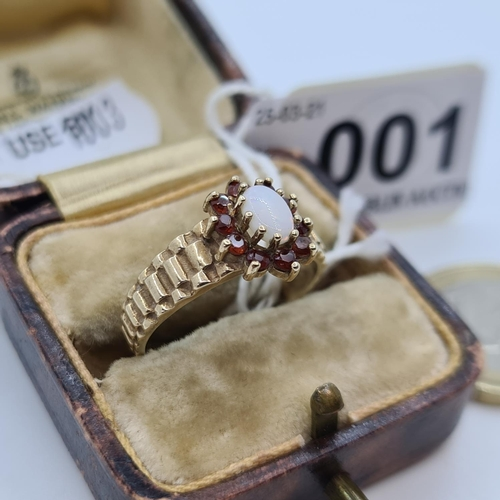 1 - 9ct gold wide band Opal and Garnet ring, Size P 3.5g