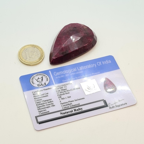 10 - Very large Natural pear shaped ruby, 234 cts, colour enhanced with lab cert.