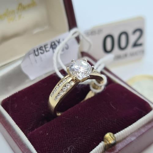 2 - 14ct Gold wide band large Gem set ring size P 3.2g