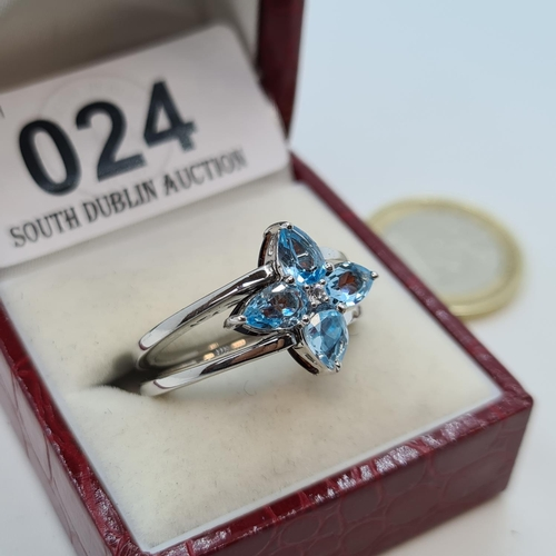 24 - Sterling Silver Flip over ring one side is Aqua Marine one side is Ruby. Super pretty ring.