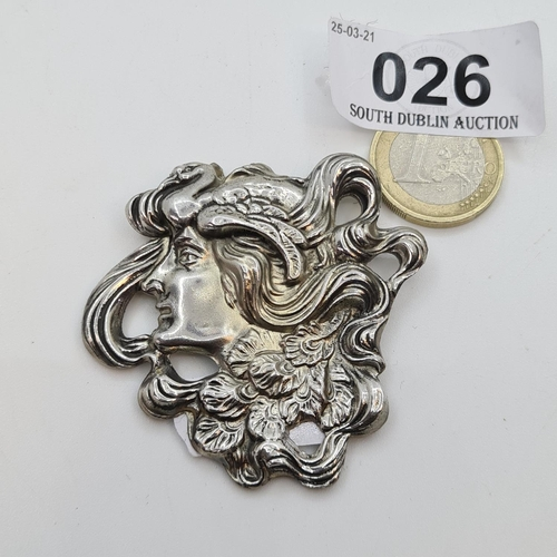 26 - Heavy Antique Silver Large Art Nouveau brooch, with a lady in profile 33g