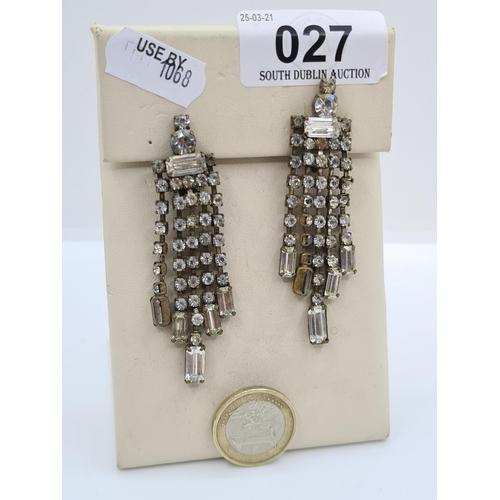 27 - Pair of Art Deco Huge gem set drop earrings.