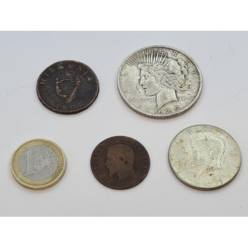 48 - 4 Coins. 1923 Silver Peace Dollar, 1965 Silver JFK half Dollar, Napoleon Coin and an 1805 Hibernia p...