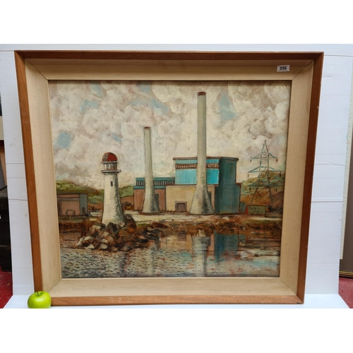 56 - Large original oil on board of an Irish harbour scene. Mm: 96 x 85 cm. Very good quality work of lar...