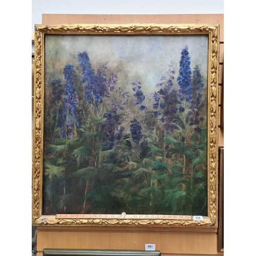 58 - Large, antique unattributed oil on canvas of foxgloves. Mm: 93 cm x 83 cm. Super quality work from a...