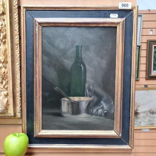 60 - Niccolo d'Ardia Caracciolo R.H.A (1941 – 1989). Oil on board of a Still Life including a wine bottle...