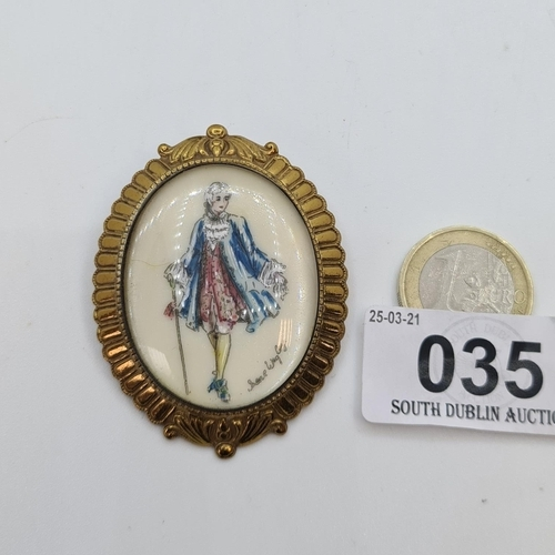 35 - Hand painted signed Miniature brooch of an 18th century Gentleman at court.