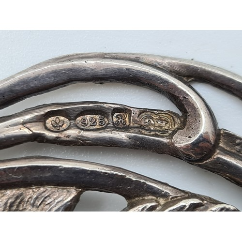 30 - Stunning Sterling Silver Double Swan Belt buckle Circa 1901 29g