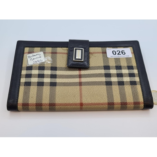 26 - Genuine Burberry leather and classic check purse / document holder. Unisex