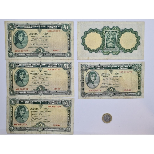 3 - Five Early Lady Lavery Irish £1 banknotes. 1 x 1950 2 x 1957 and 2 x 1960