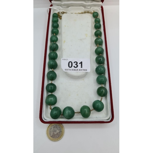 31 - Antique natural jade necklace hand strung all the beads are different shapes and very cold to the to...