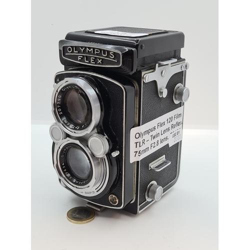 37 - Olympus Flex 120 Film TLR- Twin Lens Reflex 75MM F2.8 lens. Made In Japan. Similar design to the Rol...
