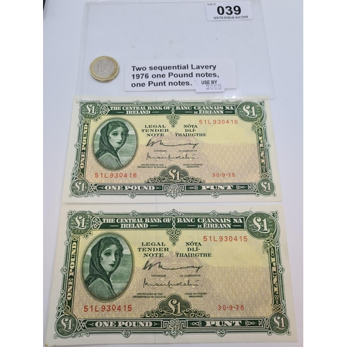 39 - Two sequential Lady Lavery 1976 one pound notes. Uncirculated.