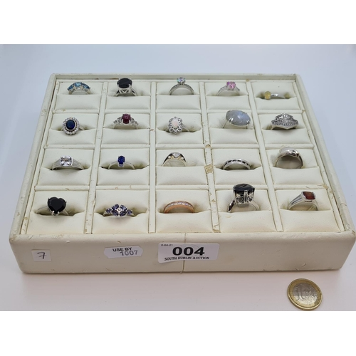 4 - Tray of Sterling Silver rings including tanzanite, fire opal, topaz and sapphire examples. 20 rings ...
