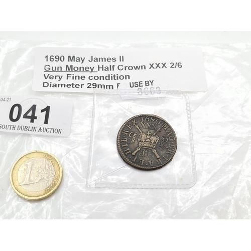 41 - 1690 May James 2nd gun money half crown 2/6 Very fine condition diameter 29mm.